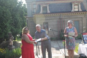 Horne Fund Scholarship recipient accepting award for success as a non-traditional student